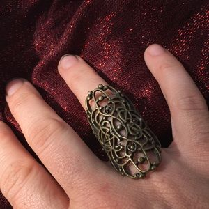 Free People Long Lotus Knuckle Ring Bronze